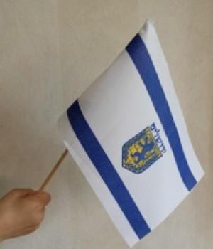 Lite Jerusalemflagg på trestang 25 x 17 cm produsert i Israel. Tykk kvalitet.