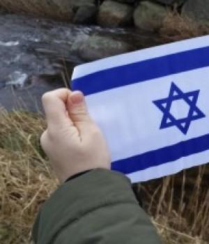 3 stk små Israelsflagg med plaststang i tynn kvalitet