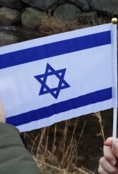 Lite Israelsflagg med plaststang i tynn kvalitet